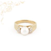 Női arany gyémánt gyűrű édesvízi gyönggyel ékesítve