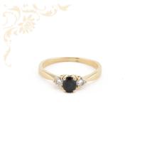 Női arany gyémánt gyűrű zafírral