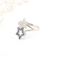 Gyémánt és zafír köves női arany gyűrű