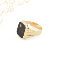 Férfi arany gyémánt pecsétgyűrű