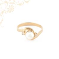 Női arany gyémánt gyűrű sós vízi gyönggyel ékesítve