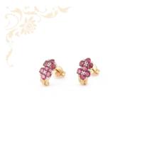 Exkluzív megjelenésű, rubinnal és gyémántokkal ékesített női arany fülbevaló