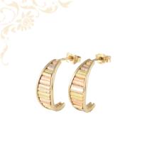 Háromszínű, bedugós női arany fülbevaló, stekkeres záródással
