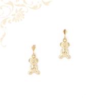 Maci formájú, bedugós  gyermek arany fülbevaló préselt arany lemezből