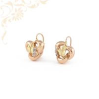 Sárga és rozé (vörös) arany kombinációjával készült, női arany fülbevaló, melyet gyönyörű kék színű szintetikus kövek díszítenek