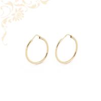Üreges, tükörfényes felületű, női arany karika fülbevaló.
