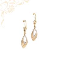 Nagyon szép, áttört mintás, fehér színű cirkónia kövekkel díszített, női köves arany fülbevaló.