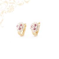 Mályva és fehér színű kövekkel díszített arany fülbevaló