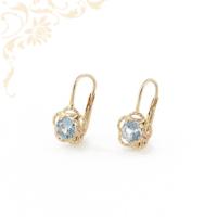 Gyönyörű kék színű szintetikus kővel díszített, női köves arany fülbevaló