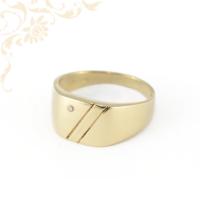 Cirkónia köves férfi arany pecsétgyűrű