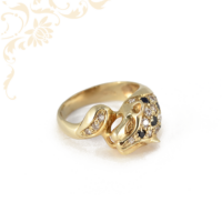 Párducfejet ábrázoló, női köves arany gyűrű