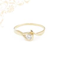 Cirkónia köves arany gyűrű, eljegyzési gyűrű