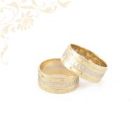 Arany karikagyűrű pár, 14 karátos sárga és fehérarany kombinációjával.