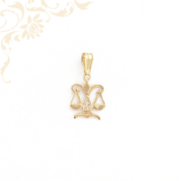 Mérleg formájú horoszkópos arany medál, fehér színű cirkónia kővel ékesítve