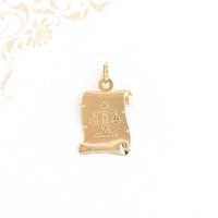 Pergamen alakú, mérleg horoszkópos arany medál