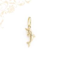 Delfint ábrázoló, üreges arany medál. (3D)
