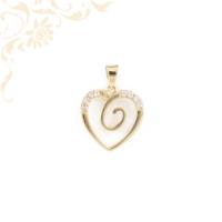 Fehér színű cirkónia kövekkel díszített, arany szív medál