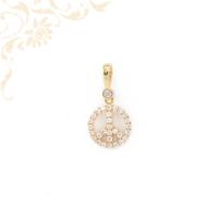 Béke jele (Peace) arany medál cirkónia kövekkel díszítve