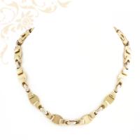 Férfi arany nyaklánc fehérarany összekötő szemekkel kombinálva