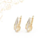 Nagyon csinos, cirkónia kövekkel ékesített női köves arany fülbevaló