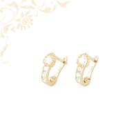 Fehér színű cirkónia kövekkel díszített, gyermek köves arany fülbevaló