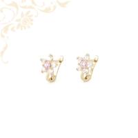Nagyon szép, virág formájú, rózsaszín színű szintetikus és fehér színű cirkónia kövekkel díszített, gyermek arany fülbevaló