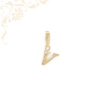 V betűt mintázó arany medál, fehér színű cirkónia kővel díszítve