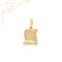 Pergamen alakú, horoszkópos arany medál. Felülete finoman mattított, közepét gyémántvésett vízöntő zodiákus jegy díszíti