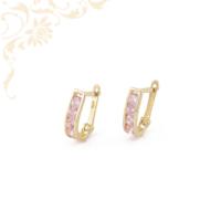 Rózsaszín színű szintetikus kövekkel díszített, gyermek köves arany fülbevaló