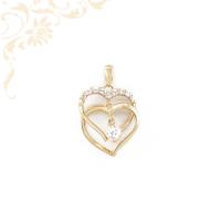 Áttört mintás, dupla szív formájú köves arany medál, fehér színű cirkónia kövekkel díszítve