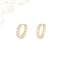 Fehér színű cirkónia, rózsaszín színű szintetkikus kövekkel díszített, gyermek köves arany karika fülbevaló