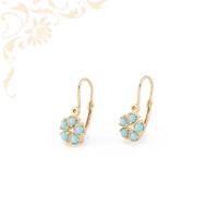 Gyönyörű türkízkék színű szintetikus kővel díszített, gyermek arany fülbevaló.