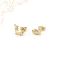 Bálna formájú gyermek arany fülbevaló, fehér színű cirkónia kővel díszítve