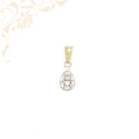 Nagyon szép és elegáns, köves arany medál, fehér színű cirkónia kövekkel és ródium bevonattal díszítve