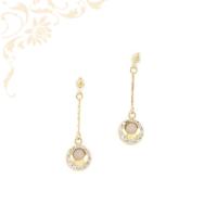 Gyémántvésett mintával és ródium bevonattal díszített, női arany lógós fülbevaló