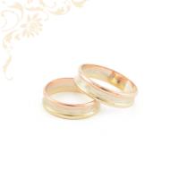 Arany karikagyűrű pár, sárga, fehérarany és rozé (vörös) arany kombinációjával