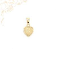 Üreges, szív formájú arany medál, R betű díszítéssel (3D)