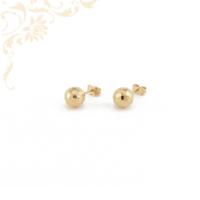 Gömb alakú arany fülbevaló, gyémántvésett mintával díszítve