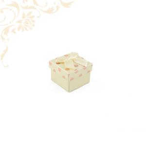 Krémszínű pöttyös papír ékszerdoboz masnival