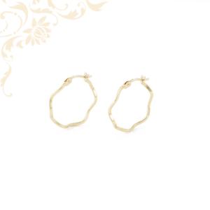 Hullámos fazonú női arany karika fülbevaló