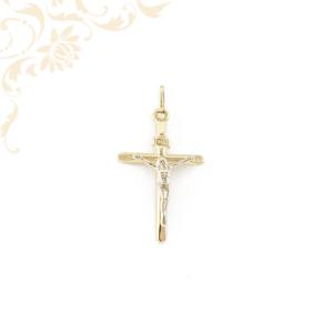 Sárga és fehéraranyból készült arany kereszt medál