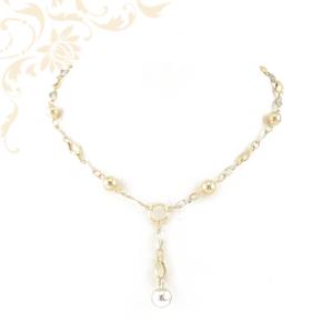 Női arany nyakék, áttört ródium bevonatos görög mintás összekötő szemekkel és üreges arany gömbökkel díszítve.