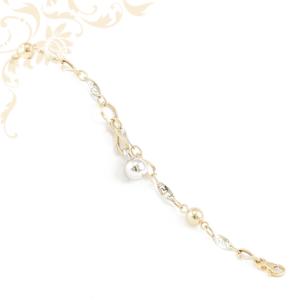Női arany karkötő, áttört ródium bevonatos görög mintás összekötő szemekkel és üreges arany gömbökkel díszítve.