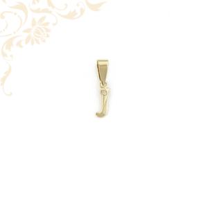 Arany J betű medál cirkónia kővel