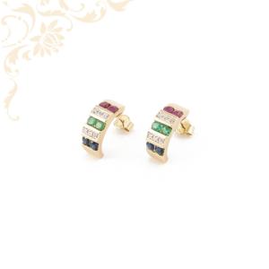 Gyémánttal, zafírral, rubinnal ékesített női arany fülbevaló