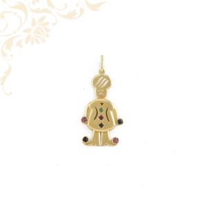 Rubin,zafír és smaragd kövekkel ékesített arany medál