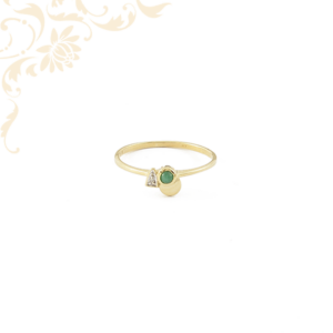 Gyémánt és smaragd köves női arany gyűrű