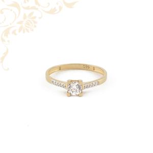 Sárga arany női köves arany gyűrű, eljegyzési gyűrű