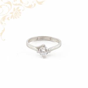 14 karátos fehérarany női köves arany gyűrű, eljegyzési gyűrű