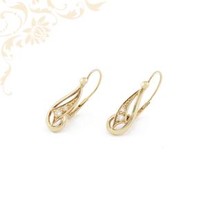Cirkónia köves női arany lógós-csüngős fülbevaló